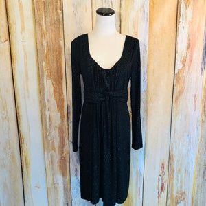 Soma Short Jersey Wrap Dress Black Gold Sparkle M